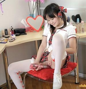 Horny asian schoolgirl exploring her wet teenage cooter