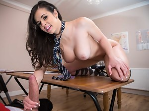Lucky guy is banging his busty classmate wearing the short black skirt. He is fucking her face and penetrating her juicy twat on the desk.