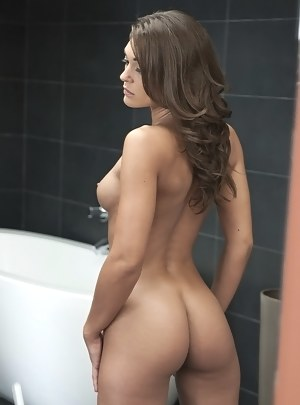 Slutty young brunette having nice ass and natural tits is demonstrating everything she's got. She is getting penetrated with erected big cock.