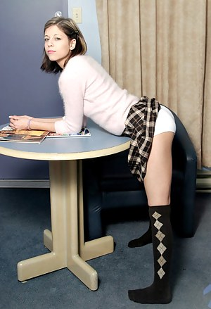 Sexy school girl melody lift her plaid skirt up and shows her cotton panties then her tits