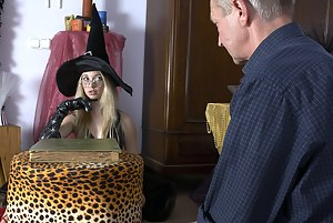 A teenage witch sucking an old fellows large stiff cock