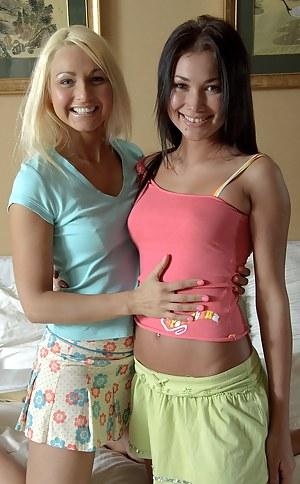 Cute sexy lesbian hottie feeling her friends damp pussy