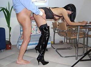 Teenage stocking slut gets fucked by an old horny senior