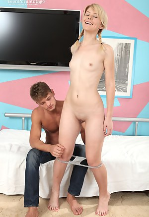 Pretty teen blonde with a perfect slim body gives great blowjob and takes a ride on a dick.