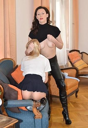 Sweet blonde cutie playing with naughty lesbian milf Lara