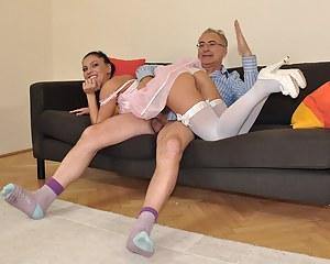 Parking his stiff senior schlong inside her slippery cunt